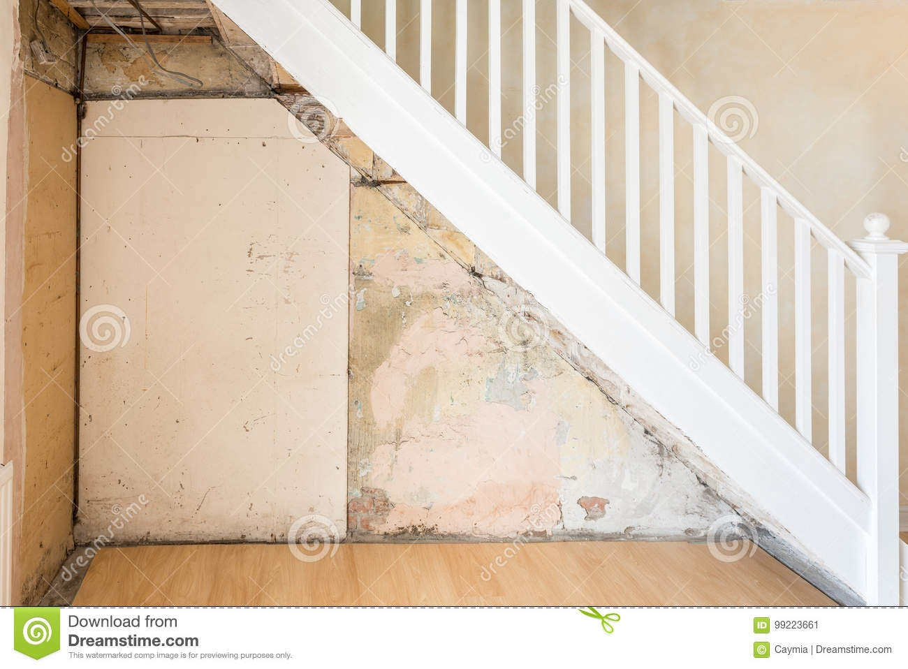 Old Bare Wall And Stairs During Renovations Stock Image Image | Stripping Stairs Back To Wood | Paint Remover | Stair Risers | Stair Treads | Steps | Hardwood