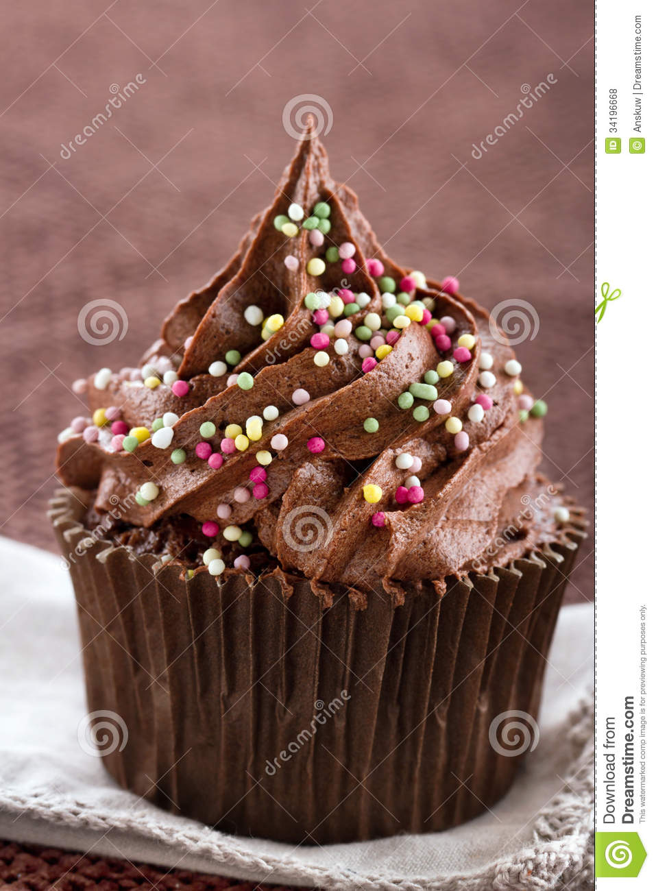 One Single Chocolate Cupcake With Sprinkles Royalty Free