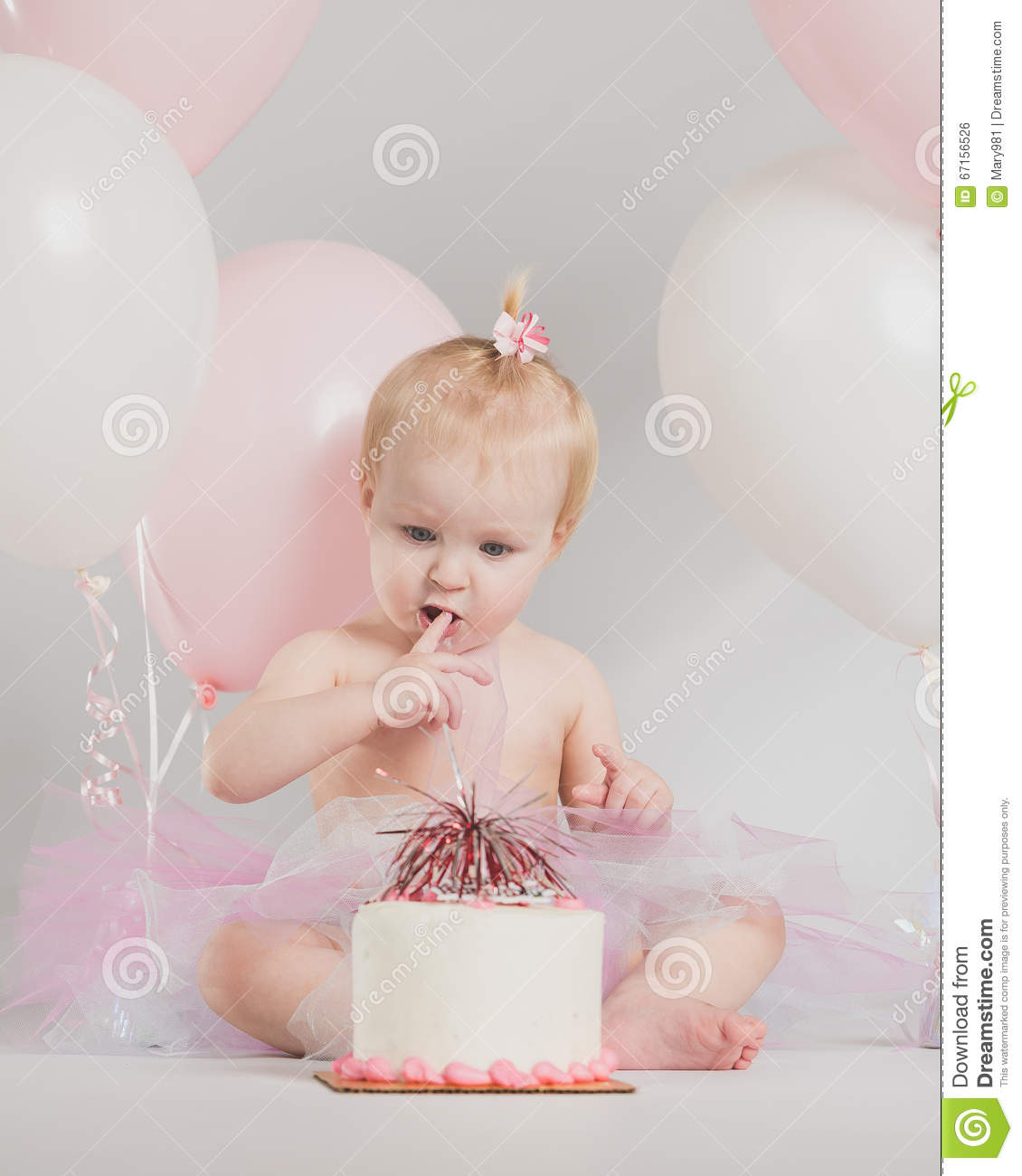 One Year Old Birthday Portraits With Smash Cake Stock