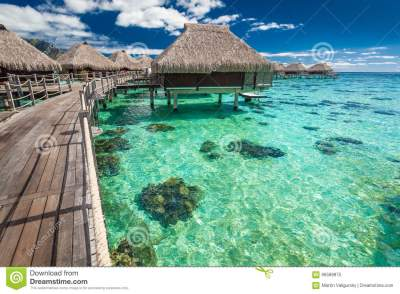 Over Water Villas On A Tropical Lagoon Of Moorea Island ...