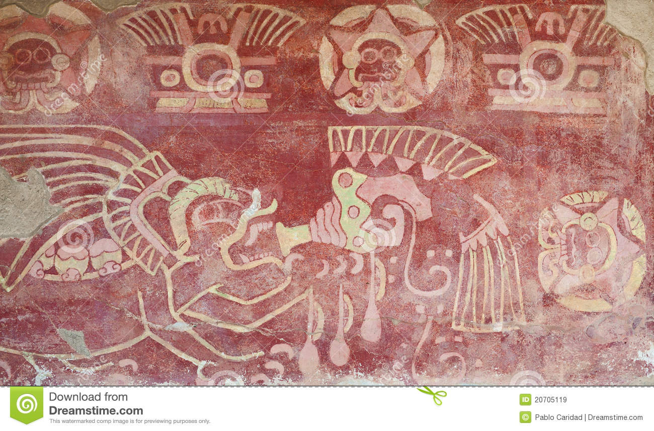 Painted Interior Of Temple In Teotihuacan Royalty Free