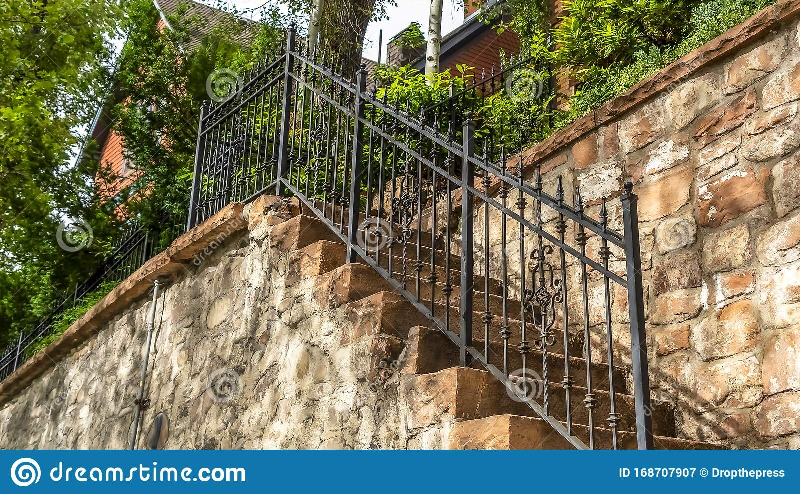 Pano Staircase With Stone Treads And Metal Railing At The Facade | Exterior Stone Stair Treads | Stone Slab | Grey Flagstone Step | Solid Weathered | Carpet Metal Rail Wood Cap | Brick