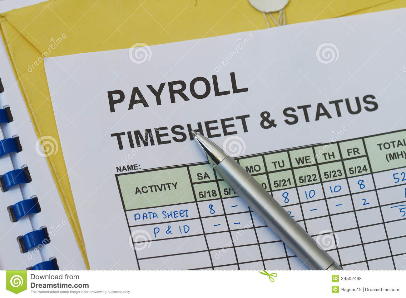 Payroll timesheet stock photo  Image of project  week   34502498 Payroll timesheet