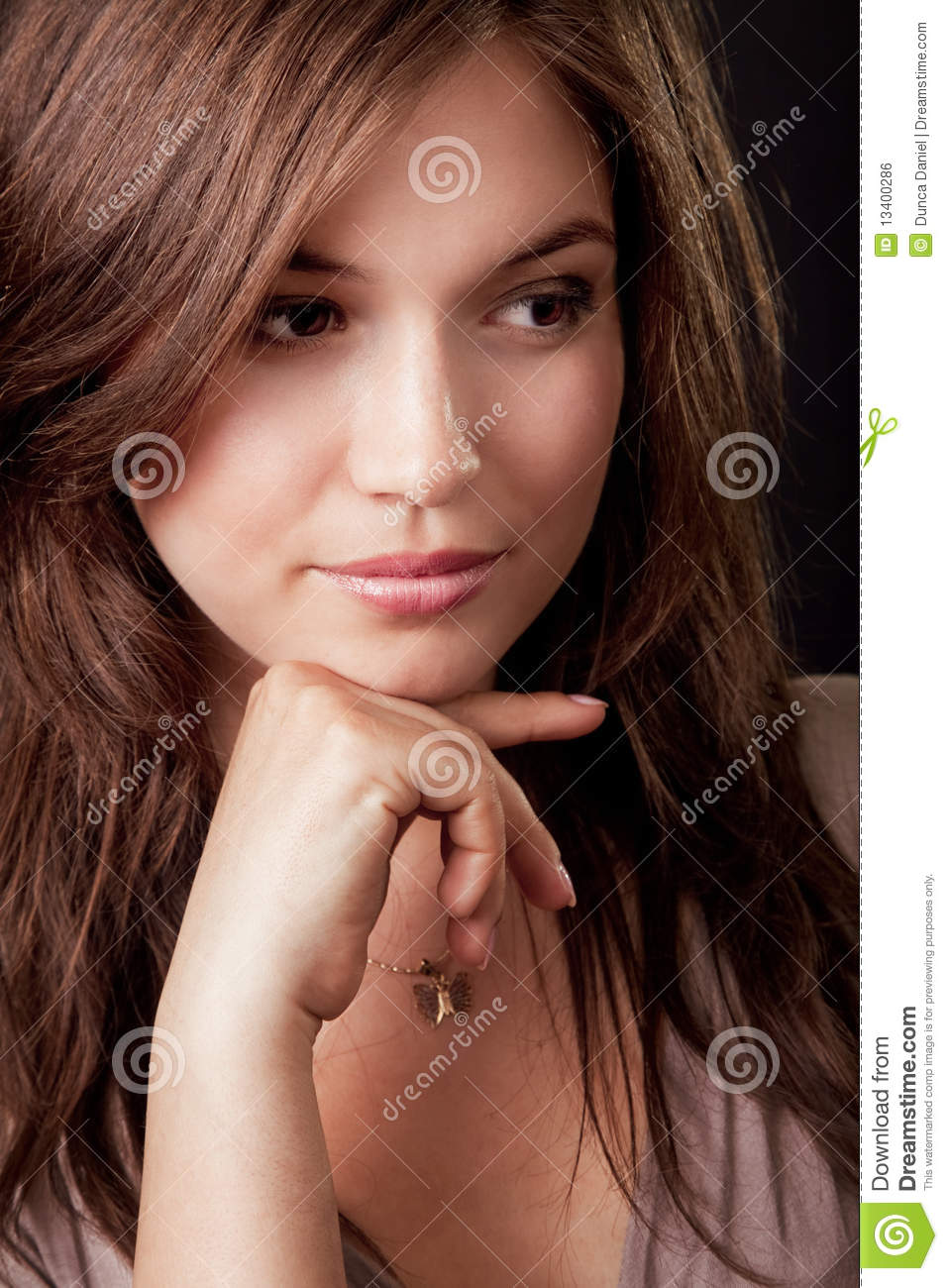 Pensive Beautiful Young Brunette Woman Royalty Free Stock