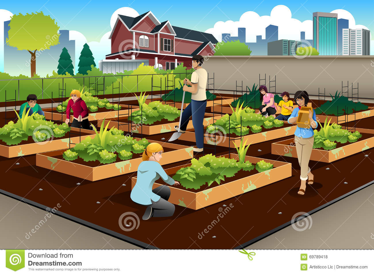 People Doing Community Gardening Stock Vector ...