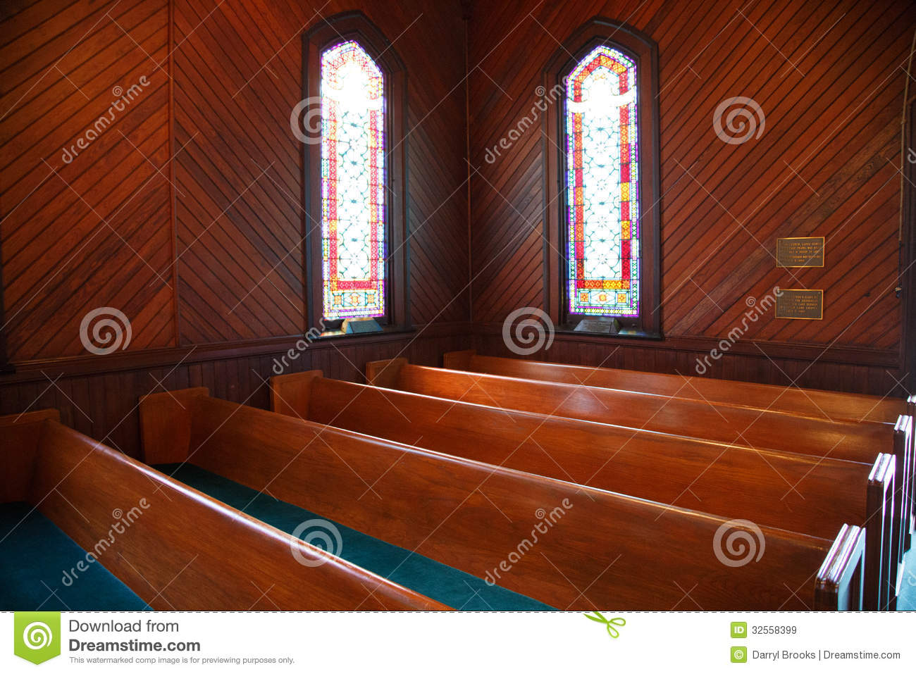 Pews And Stained Glass In Church Royalty Free Stock Images