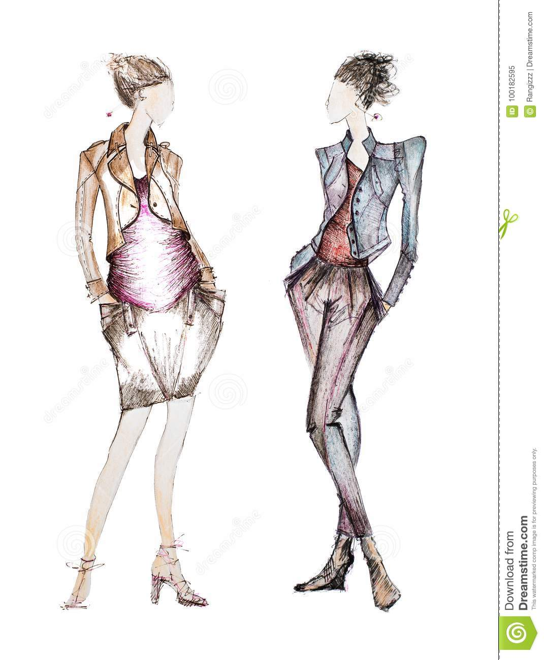 Professional Fashion Sketches Stock Illustration   Illustration of     Download Professional Fashion Sketches Stock Illustration   Illustration of  drawing  icon  100182595
