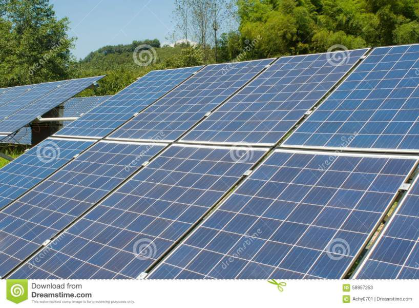 Photovoltaic cell array stock image  Image of modern   58957253 Solar photovoltaic electric field agaist the sky