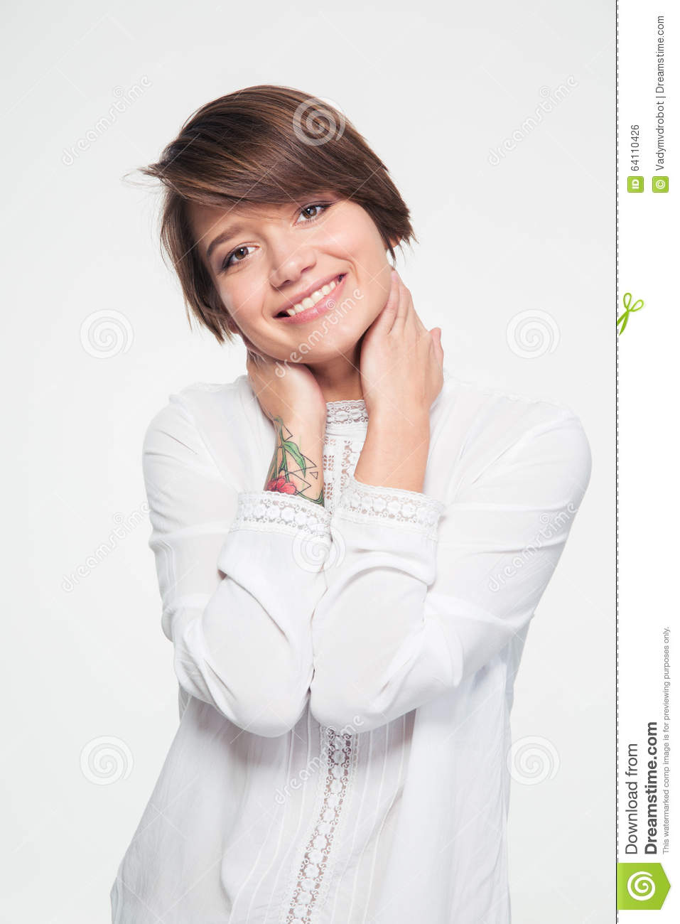 Portrait Of Beautiful Happy Young Woman In White Blouse ...