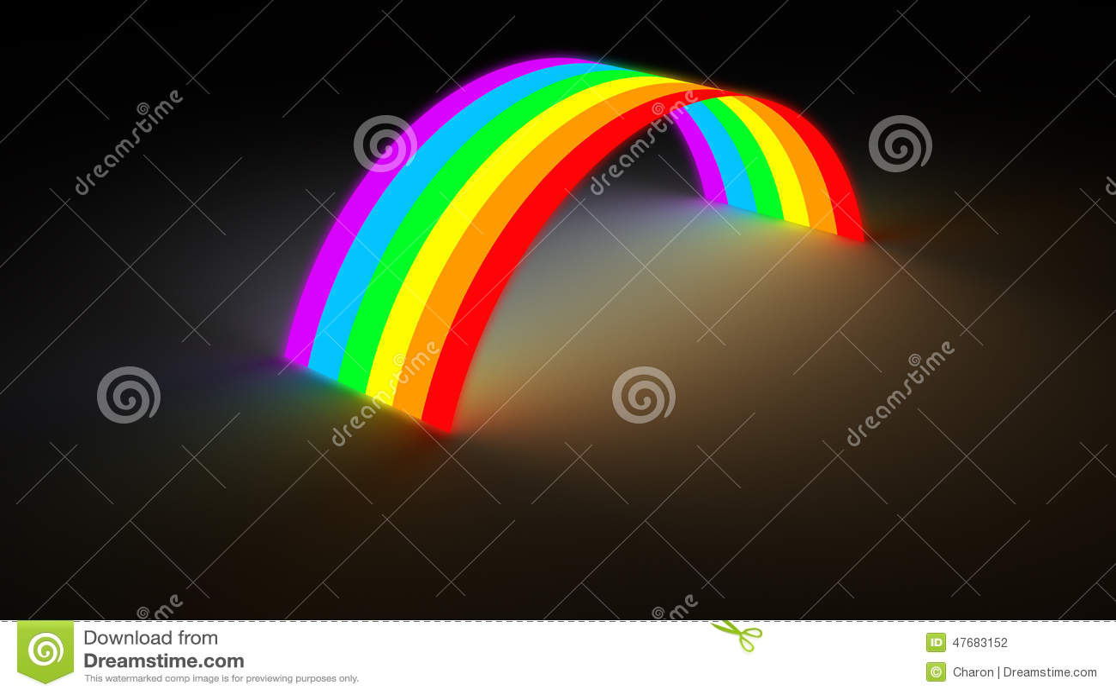 Rainbow Bridge Glowing In Dark Color Light Stock