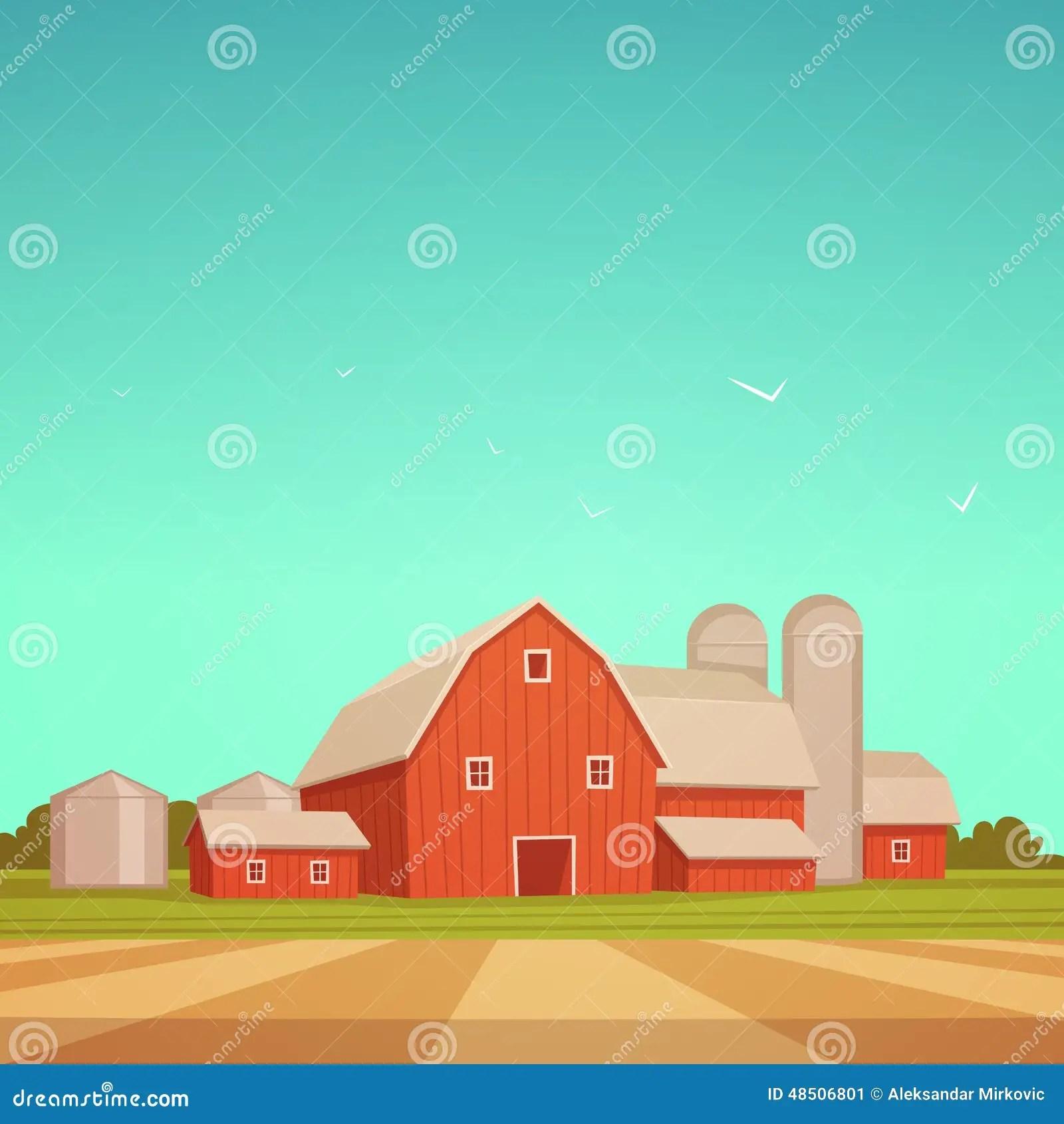 Red Farm Barn Stock Vector Illustration Of Background