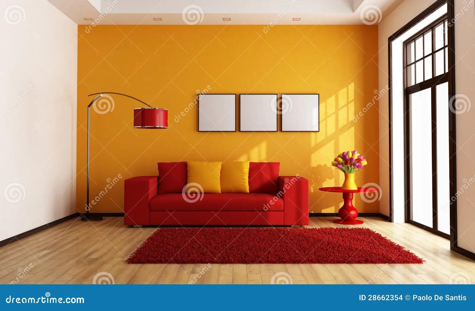 Modern Red Black And White Living Room