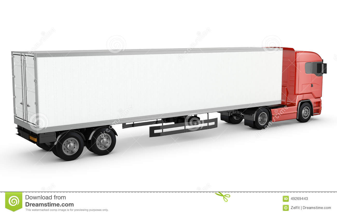 Trailer Loading Diagram Blank Wilson Plug Wiring Red Truck White Semi Isolated Background 1300x829