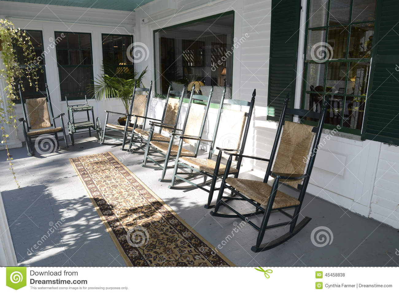 Cartoon Rocking Chairs Front Porch