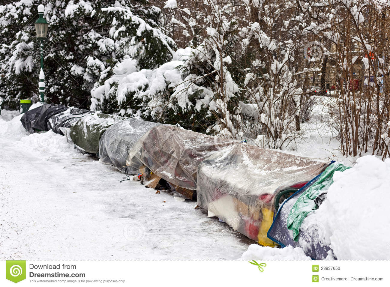 Roost Of Homeless People In Winter Stock Photo Image Of