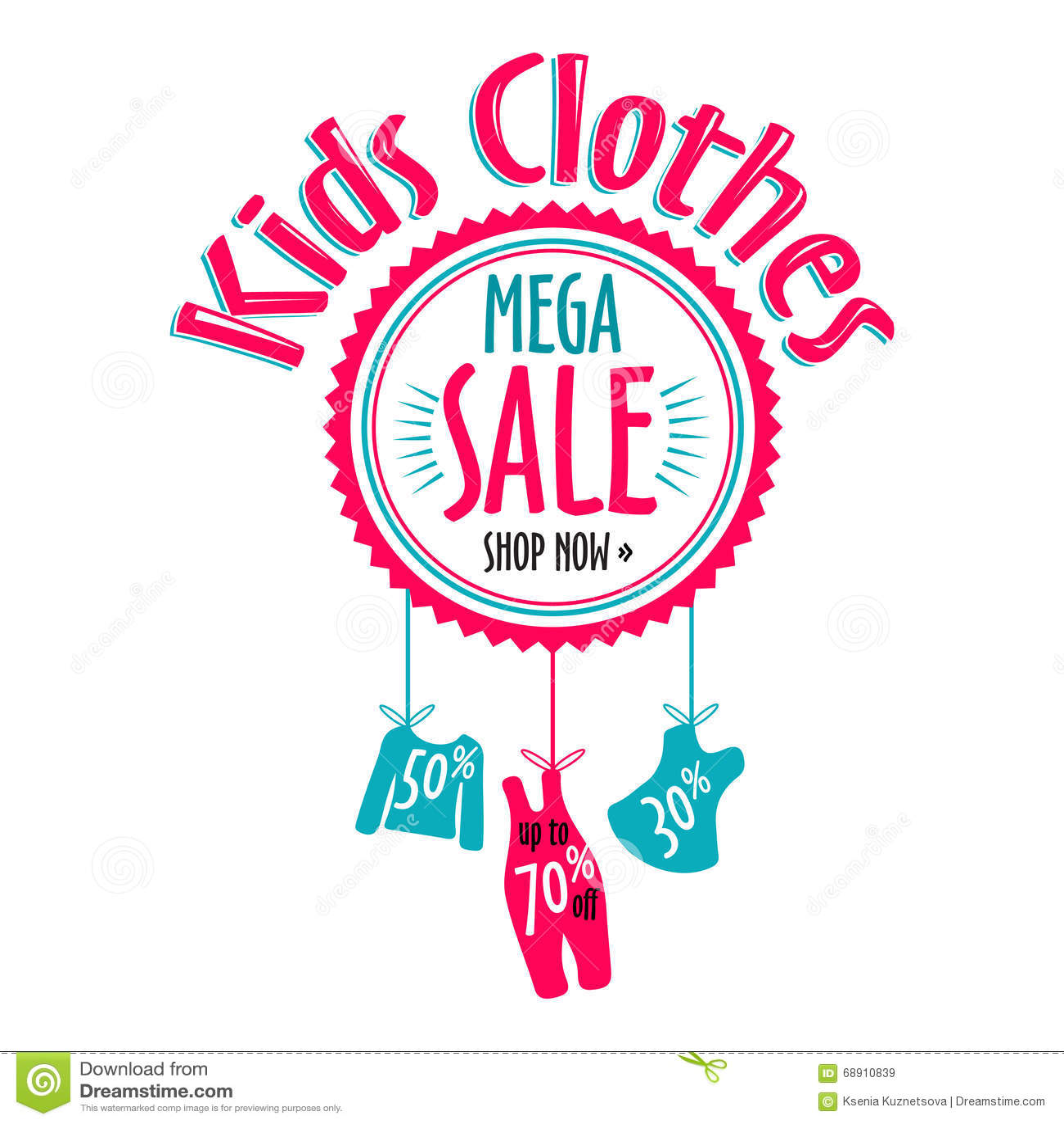 Sale Label For Clothing Kids Stores. Mega Sale Badge ...