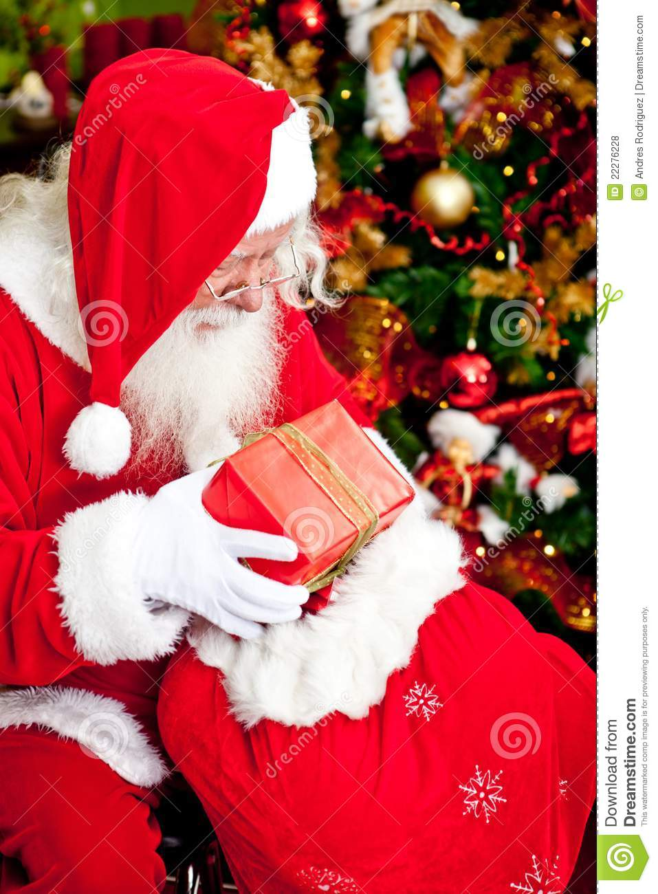 Santa Claus With Presents Stock Photo Image Of Cheerful