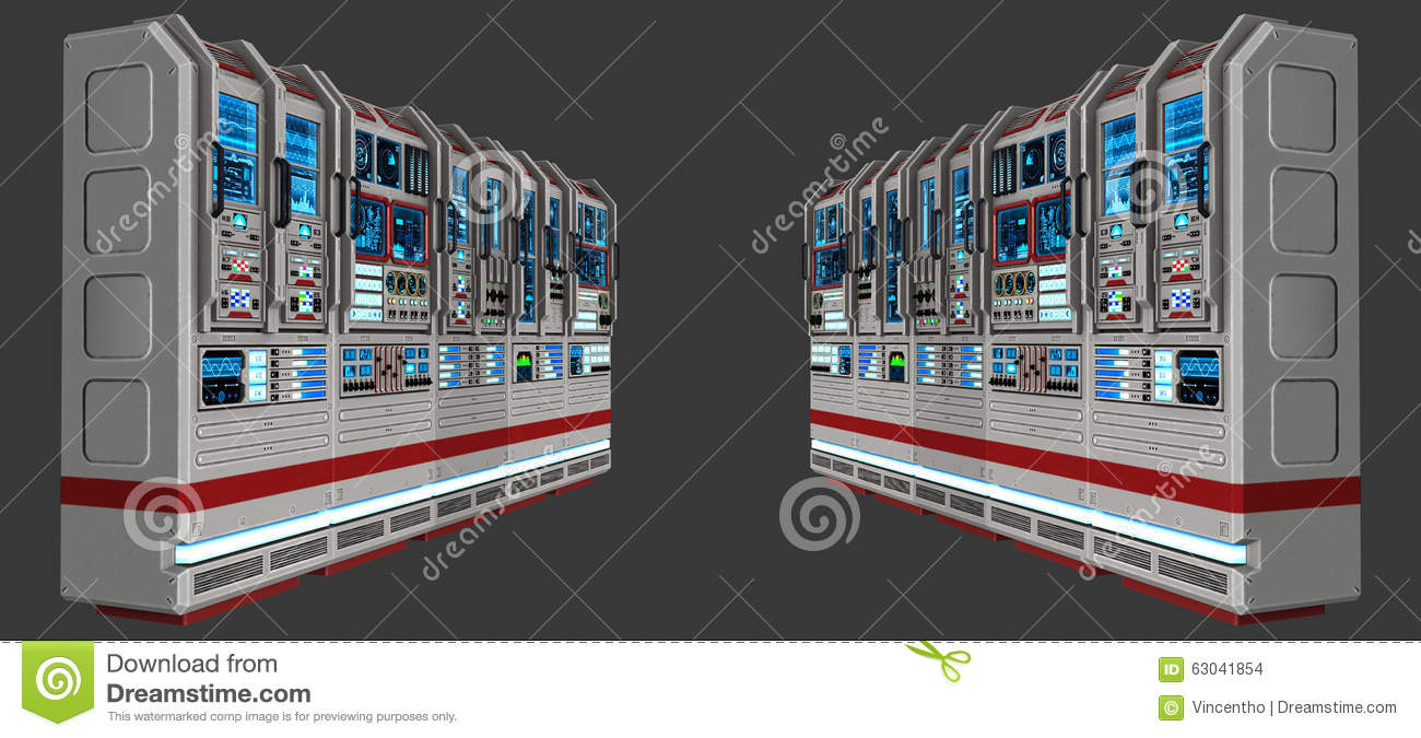 Sci Fi Science Fiction Computer Lab Illustration Stock