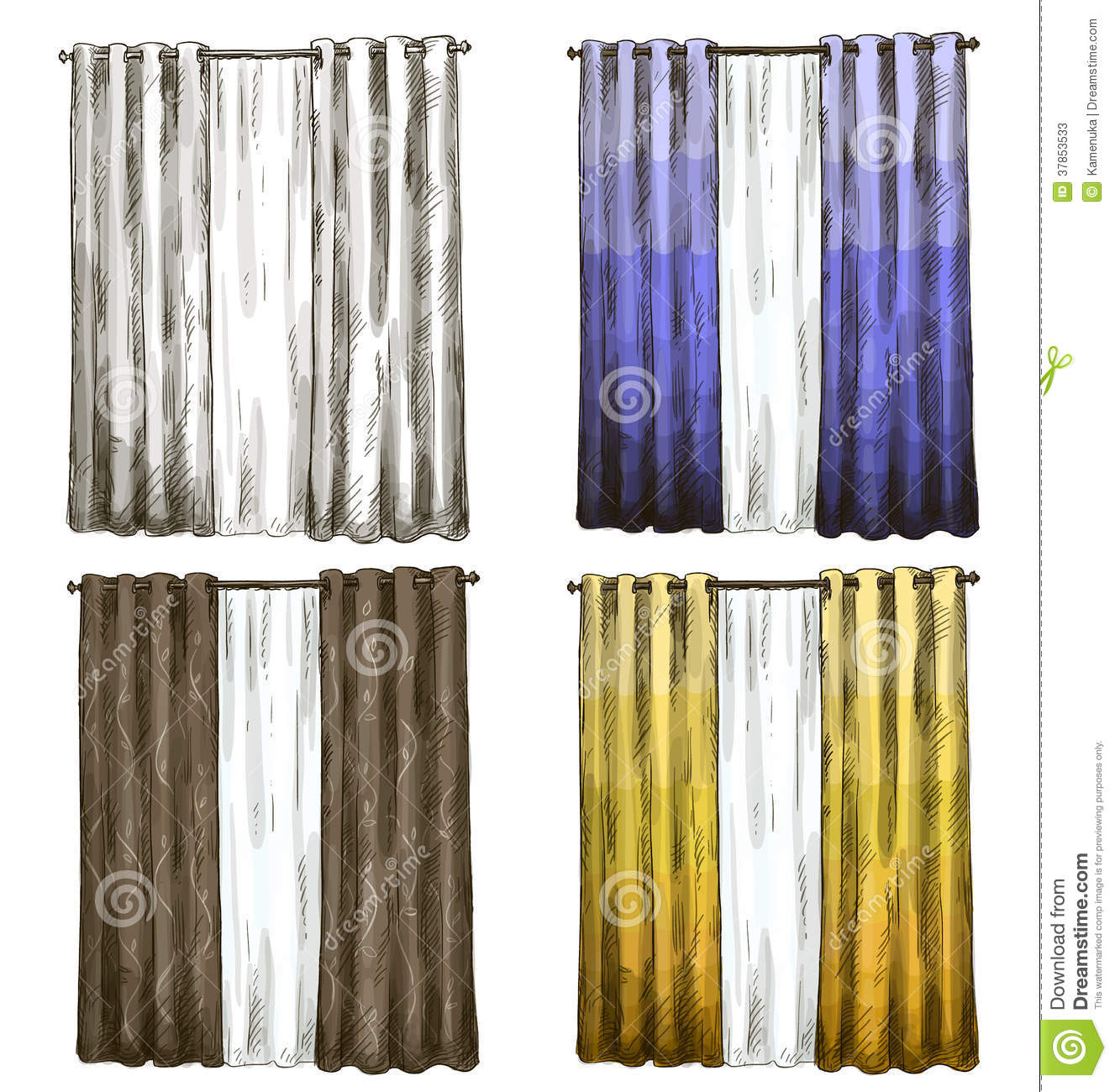 Set Of Curtains Drawings Sketch Style Stock Photos Image