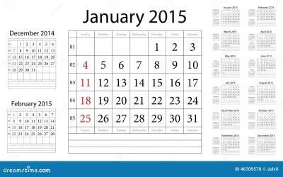 Simple European 2015 Year Vector Calendar Stock Vector ...