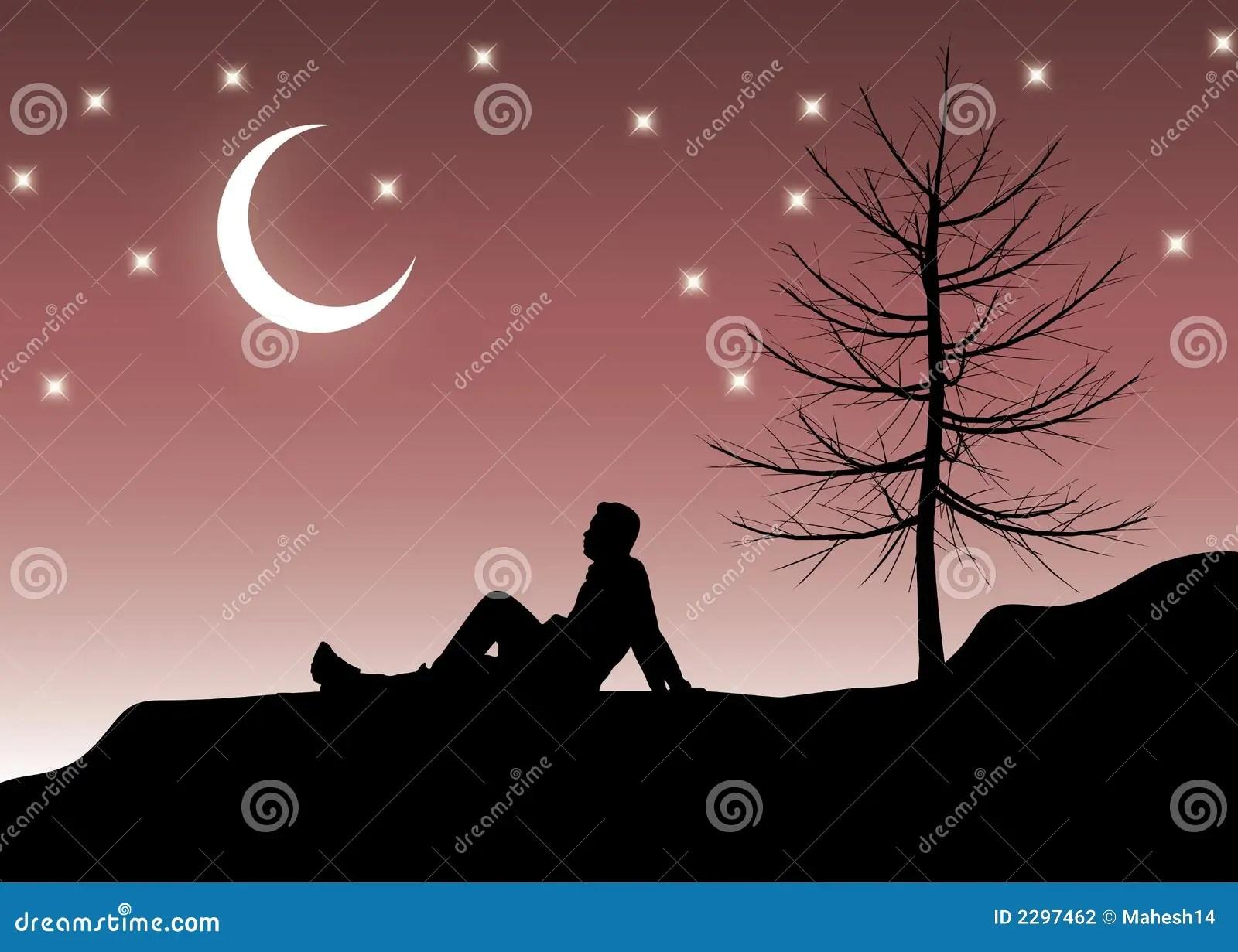 Sitting Alone at night stock illustration. Illustration of ...