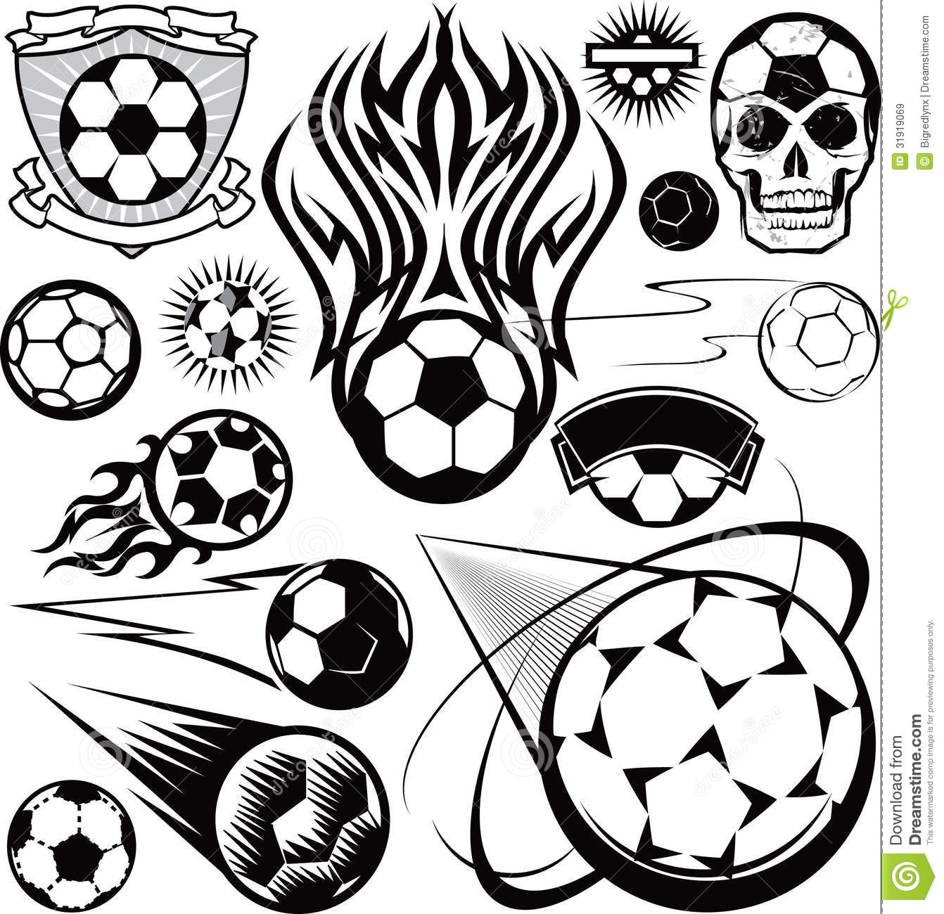 Soccer Ball Collection stock image. Image of comic, shield ...
