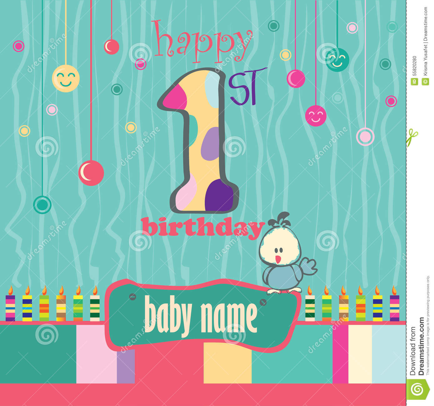 1st Birthday Greeting Card Stock Illustration