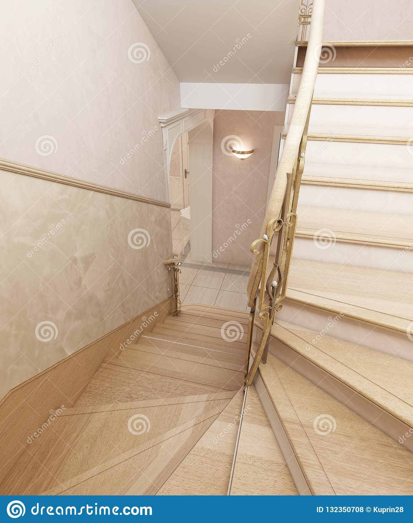 Staircase In The Interior Of A Private House In A Classic Design | House Interior Steps Design | Living Room | White | Architecture | Small | Low Cost