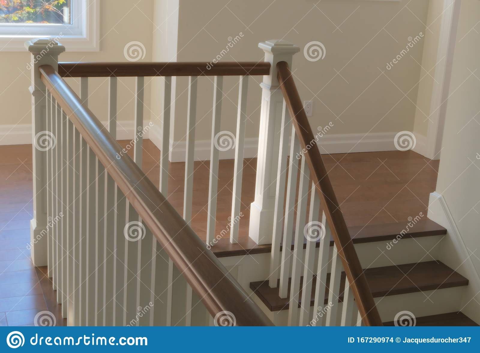 Staircase Wood White Modern Classic Stairs Interior Stock Photo   White And Wood Banister   Stairwell   Gray White   Contemporary   Classic Wood Stair   Colonial