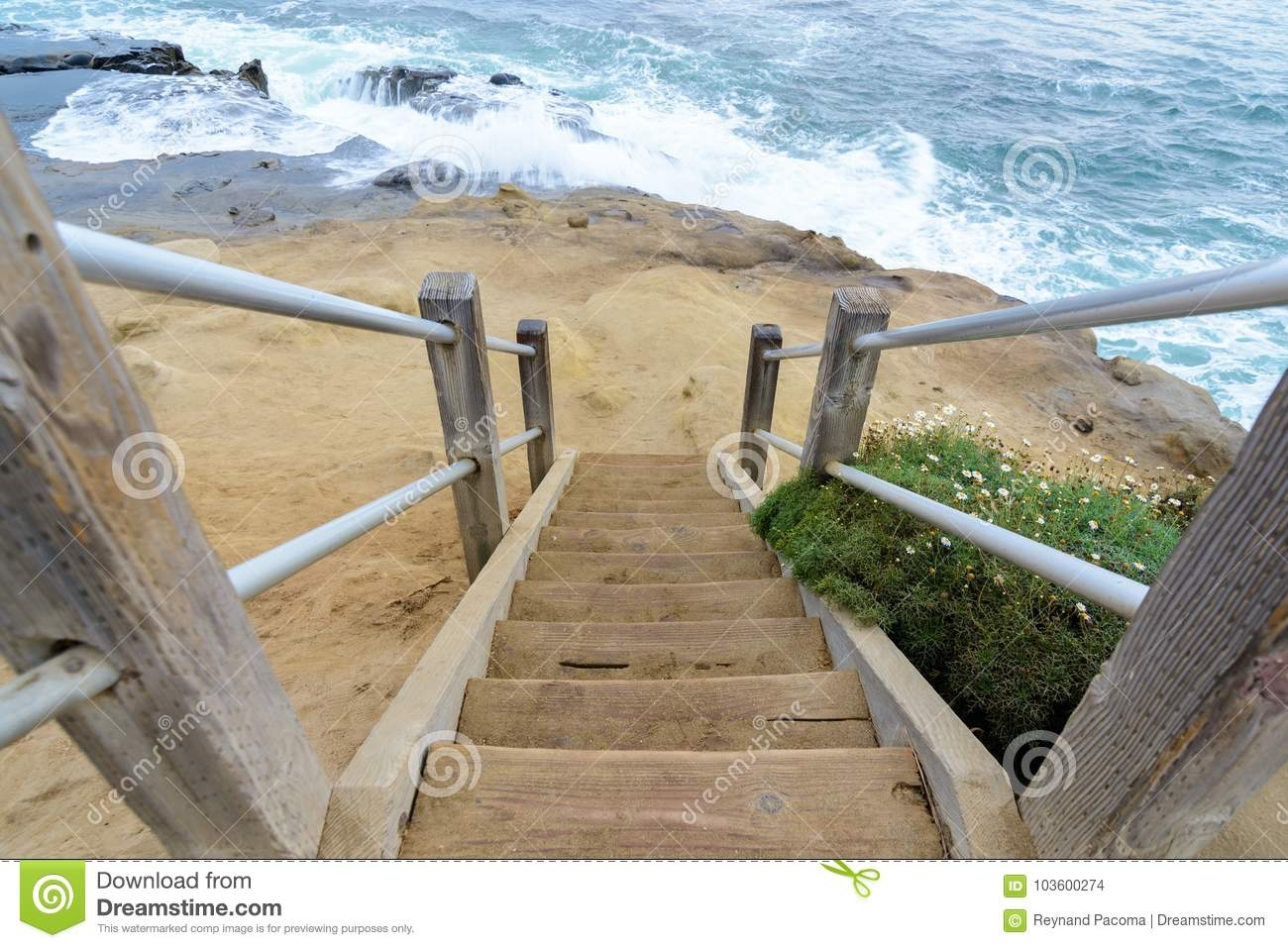Stairway To The Pacific Ocean Stock Photo Image Of Outdoors | Pacific Stairs And Railings | Architecture | Wire Mesh | Cad | Casey Brown | Modern Staircase