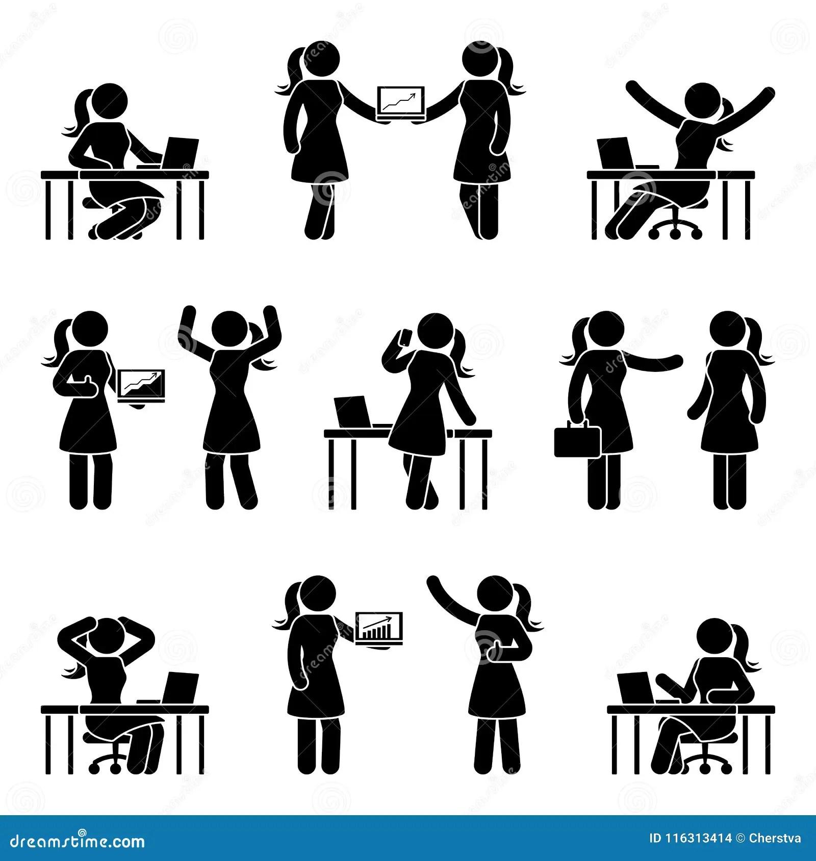 Stick Figure Business Woman Icon Set Vector Illustration