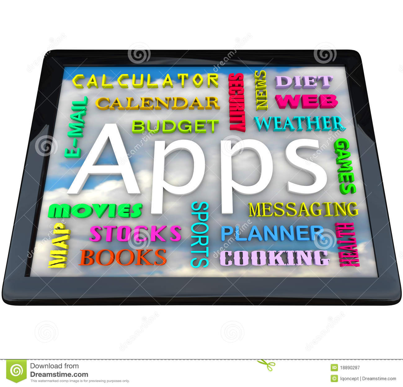 Table Computer - Apps Words For Applications Royalty Free ...