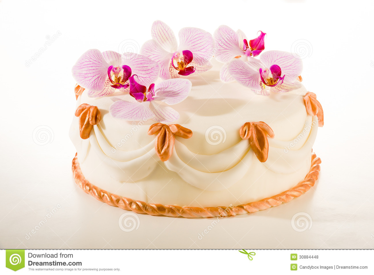 Tasty Decorated Cake In White Marzipan Coating Stock Photo