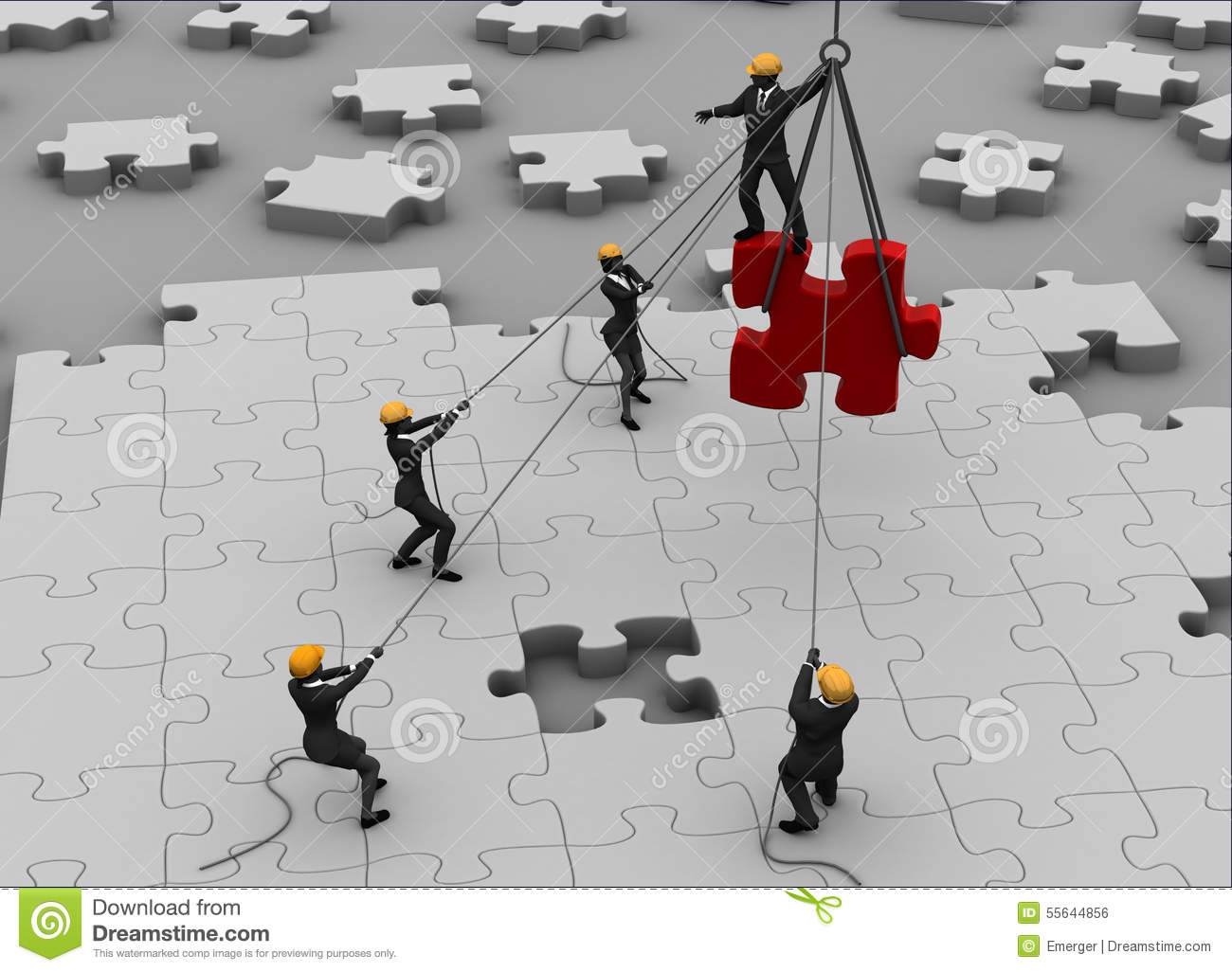 Team Building A Great Jigsaw Puzzle Stock Illustration