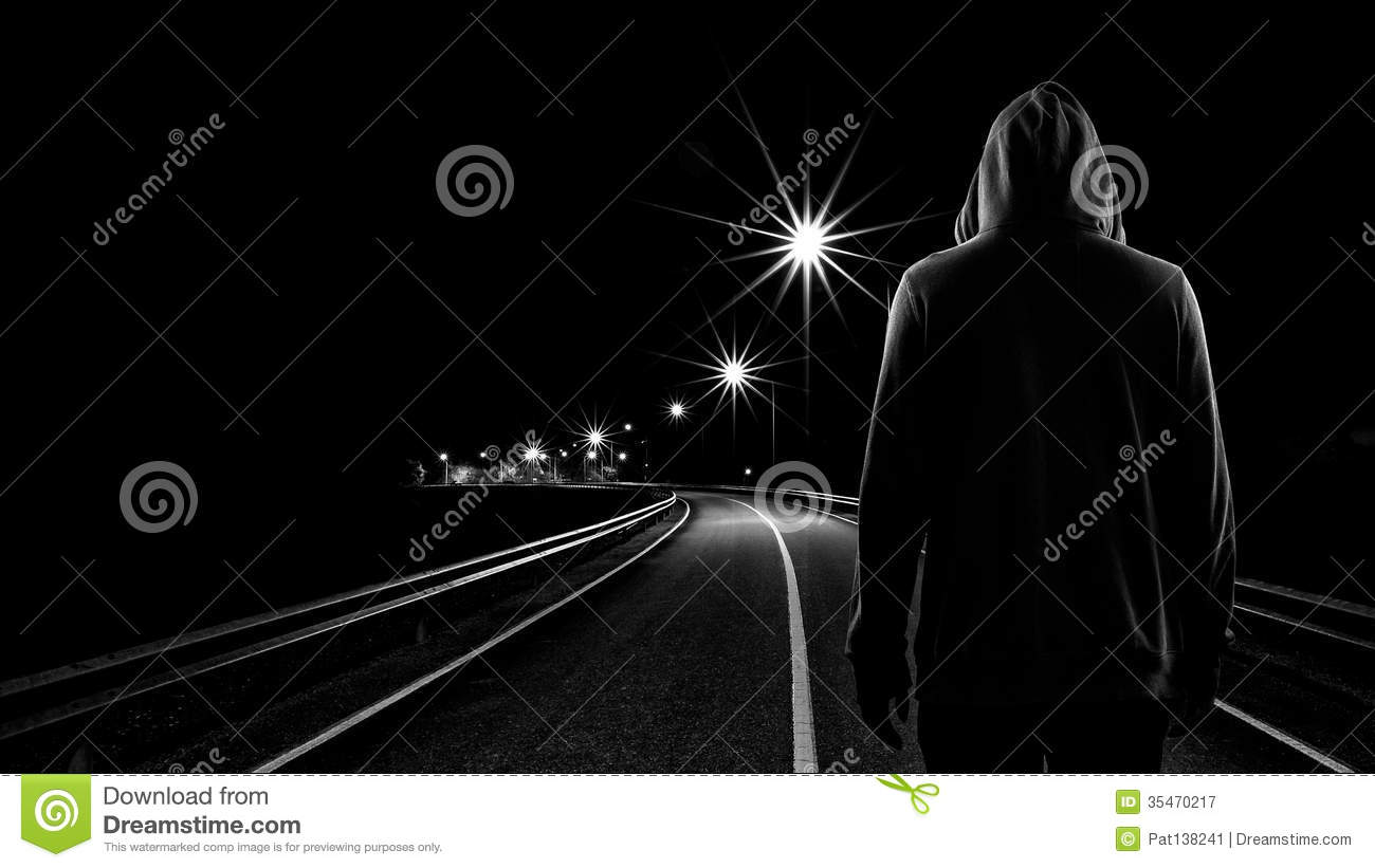 Teenager Boy Standing Alone In The Street At Night Stock ...