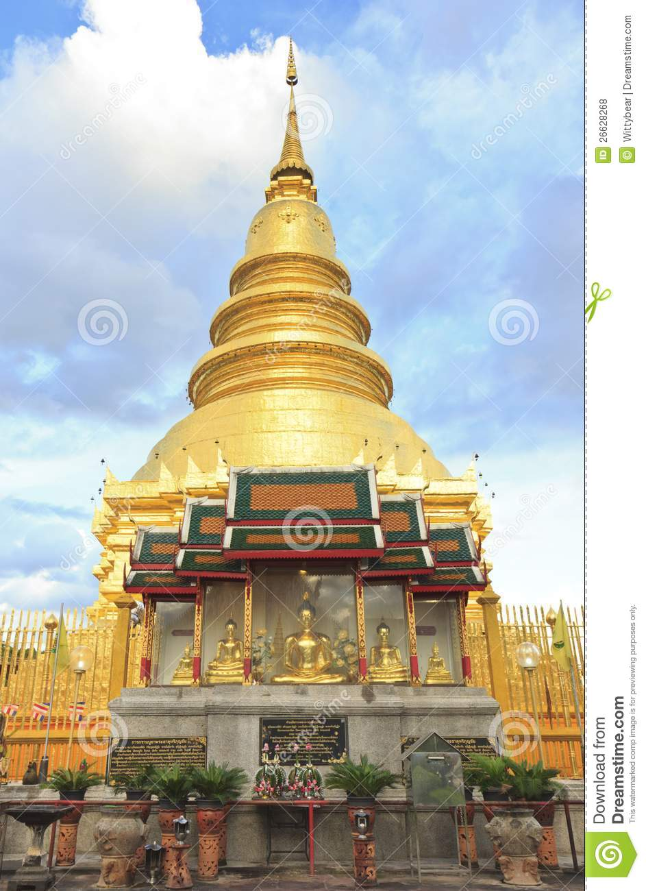 Beautiful Pagoda In The Northern Thailand Temple Stock