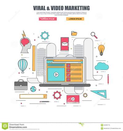Thin Line Flat Design Concept Of Viral And Video Marketing ...