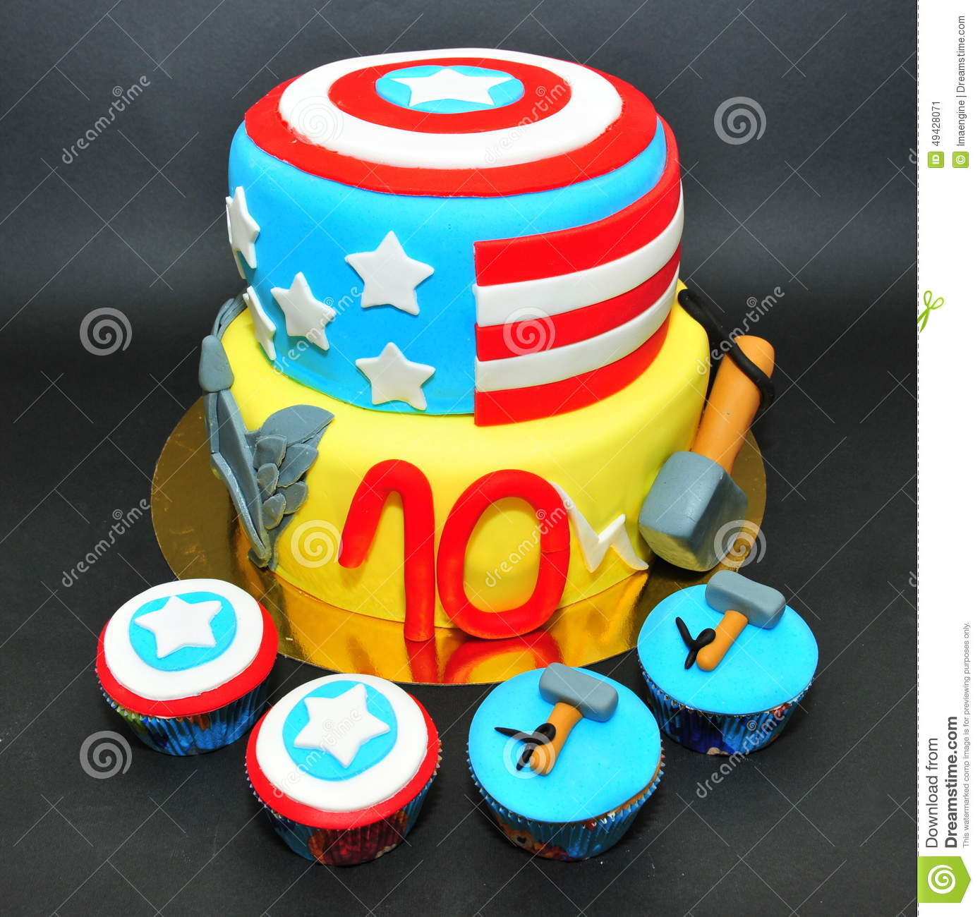 Thor And Captain America Cake And Cupcakes Editorial Photo