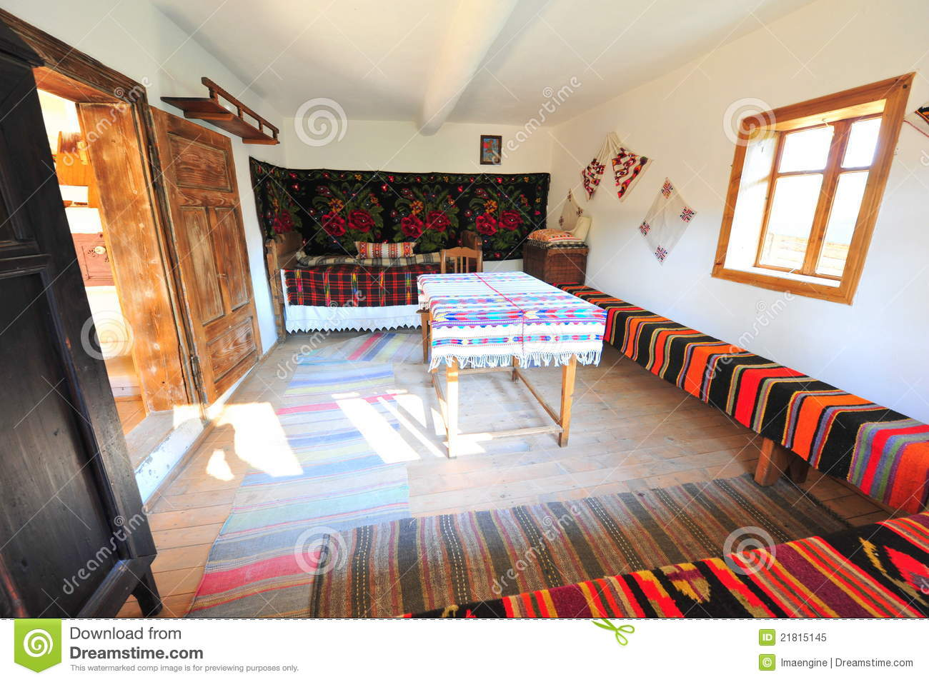 Traditional Rustic Rural Home Interior Romania Royalty
