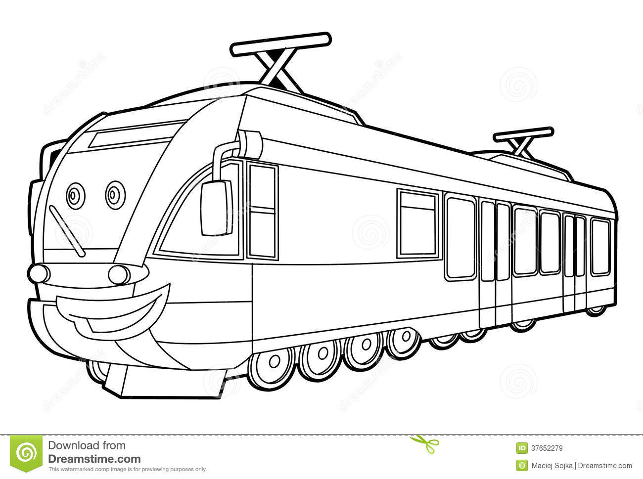 Train Coloring Page For The Children Stock Illustration