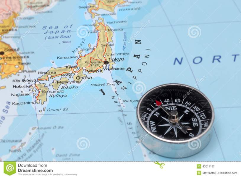 Travel Destination Japan  Map With Compass Stock Image   Image of     Travel destination Japan  map with compass