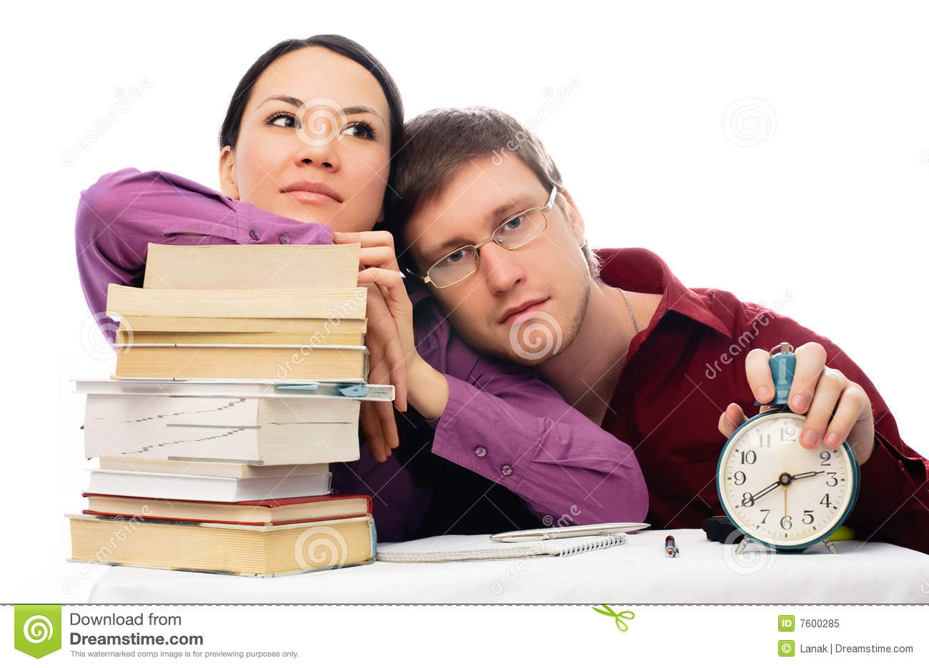 Two lazy students stock image. Image of alarm, bored, book ...