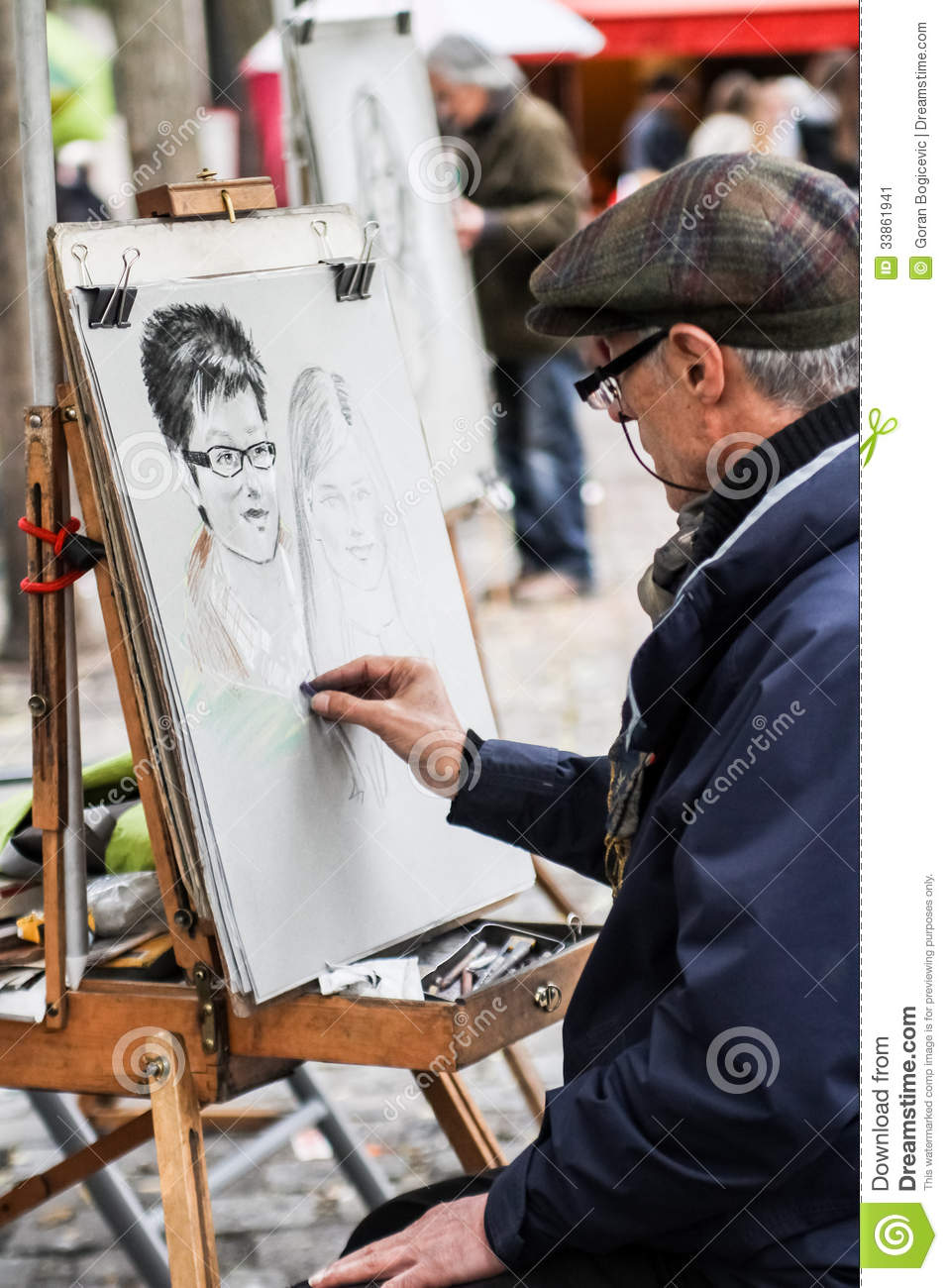 Unidentified Street Artist On Montmartre Editorial Photo