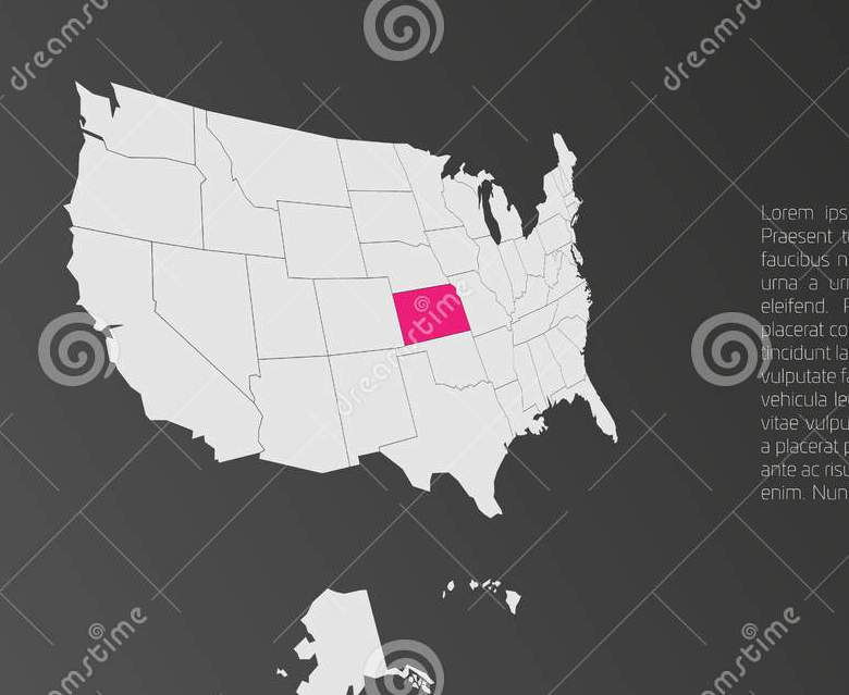 HD Decor Images » USA Map Infographics Template With Highlighted Kansas Stock Vector     USA map infographics template with highlighted Kansas