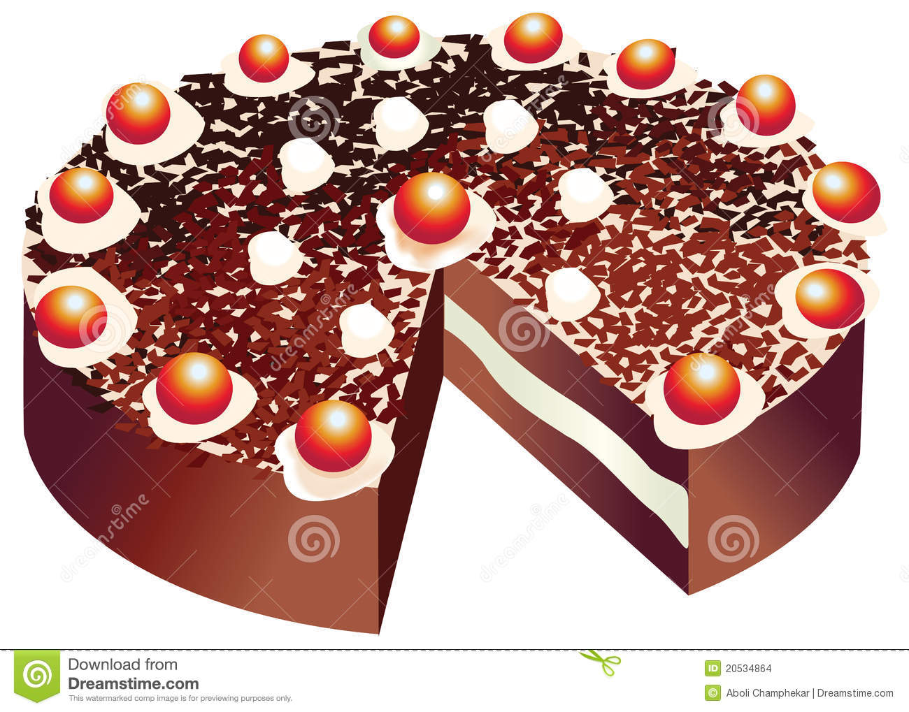 Vector Of A Black Forest Cake Stock Vector Illustration