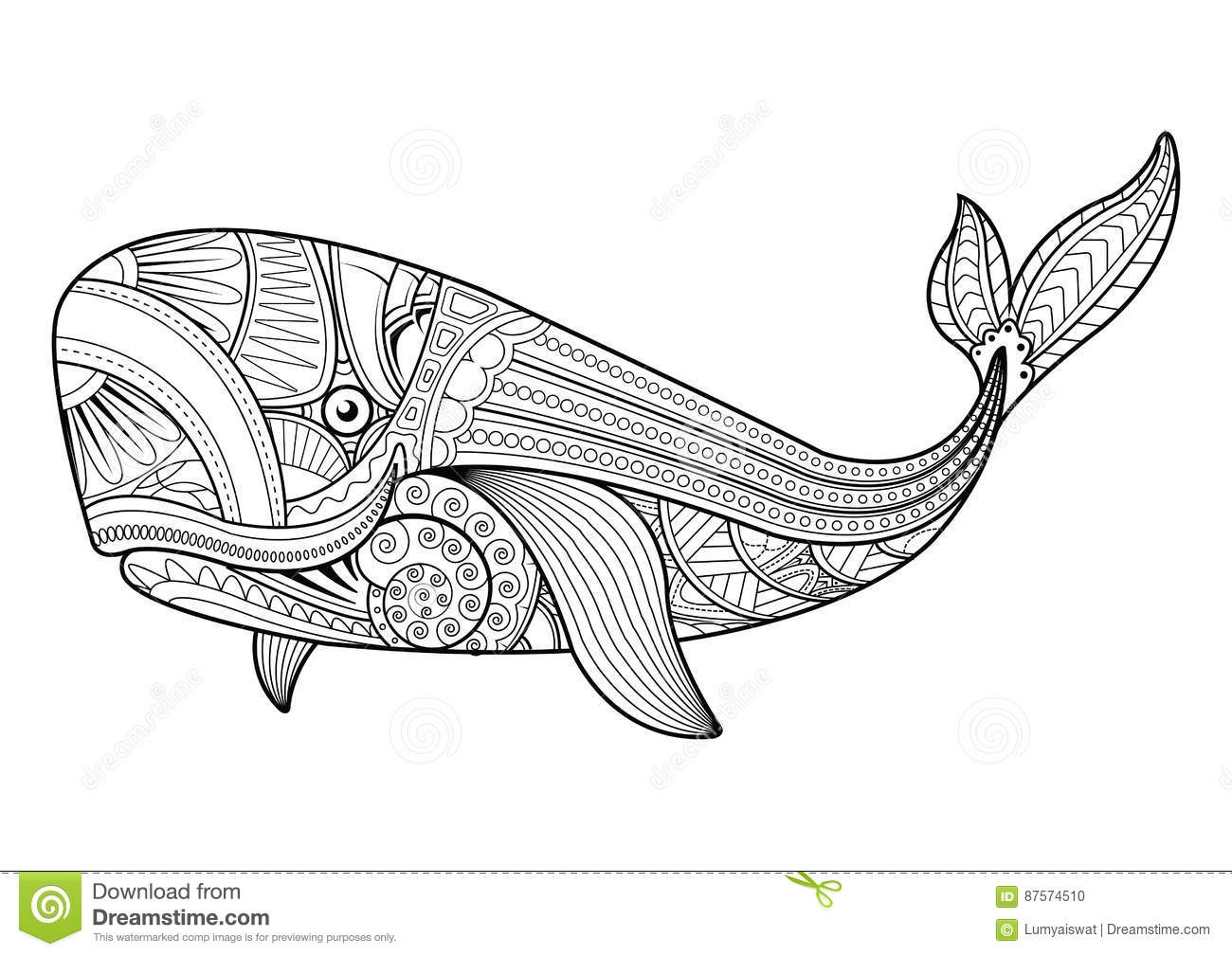 Vector Illustration Of Whale Coloring Pages Stock Vector