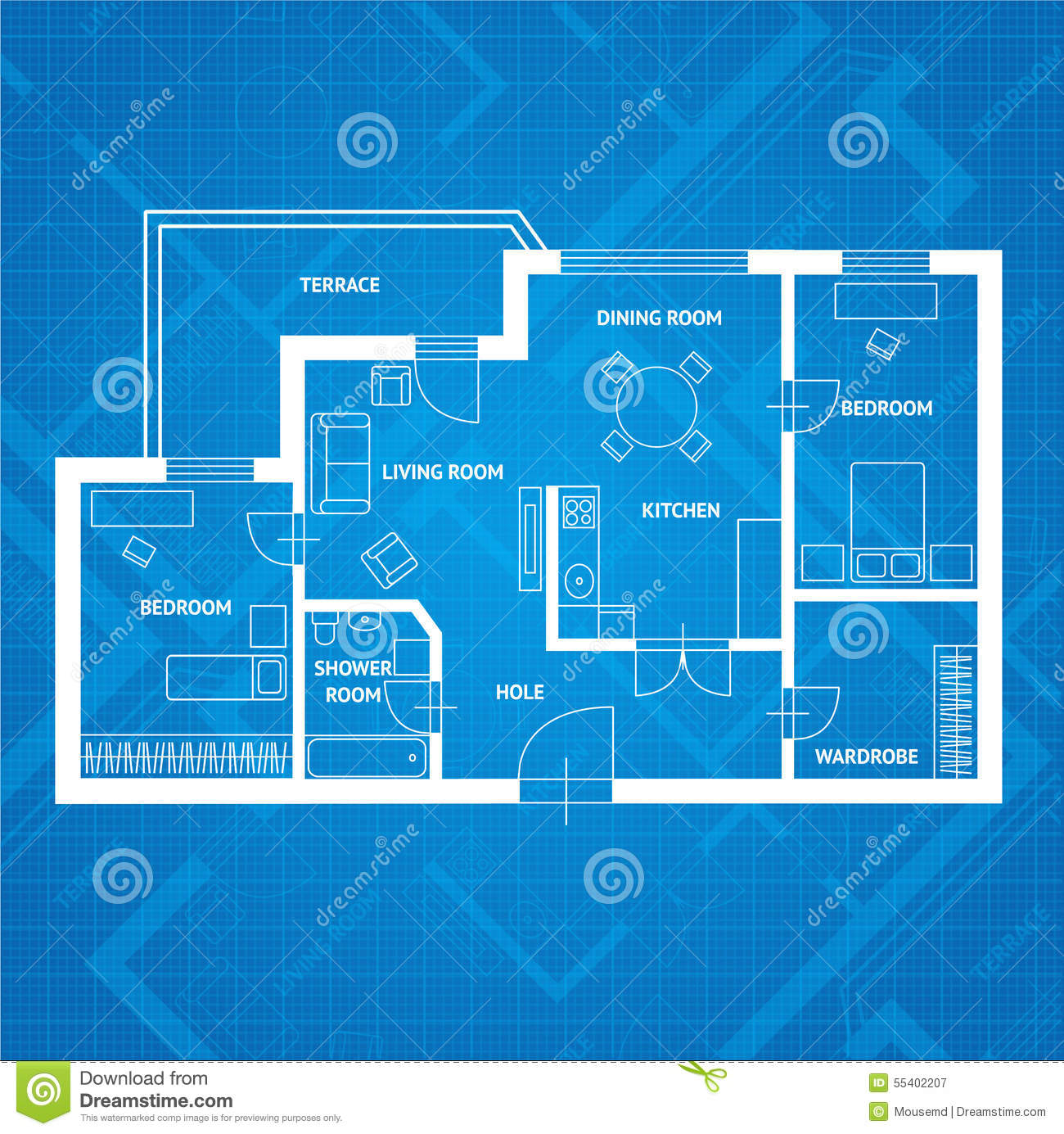 Vector Plan Blue Print Flat Design Stock Vector Image