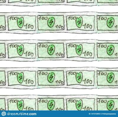 Watercolor Sketch Of A Banknote Of 100 Dollars Are Slender ...