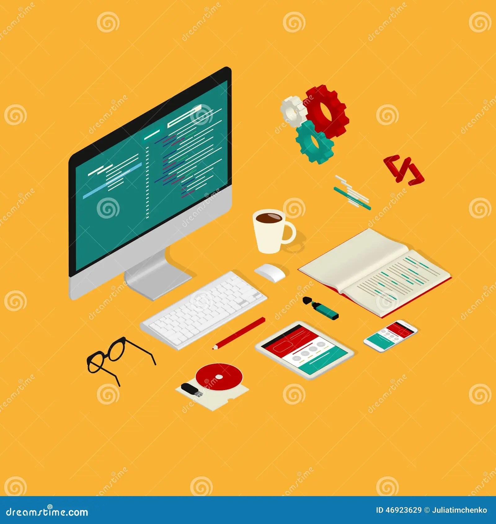 Website Coding Stock Vector Image 46923629