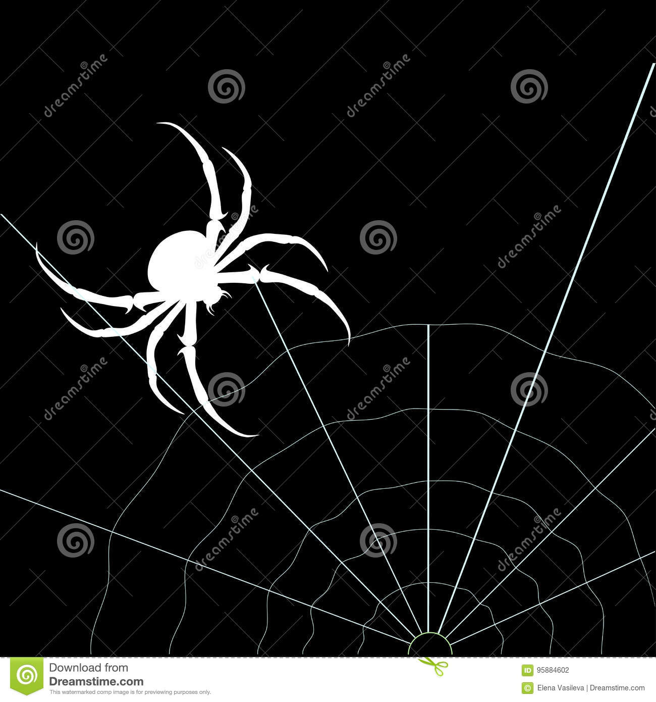 White Spider On The Black Background. Vector Silhouette ...